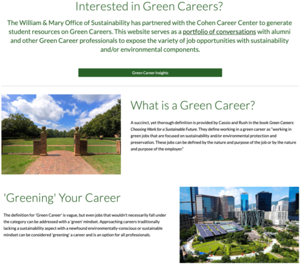Screenshot from W&M Green Careers website with headings of 'Interested in Green Careers?', 'What is a Green Career?' and 'Greening Your Career'