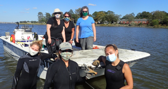 Six masked people with a small boat in shallow water