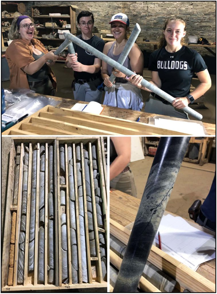 1. Four smiling students holding cylindrical, grey rock cores in a large room. 2. A large wooden box divided into long narrow rows, each containing small lengths of rock cores. 3. Closer view of a rock core with a dark grey and light grey swirls.